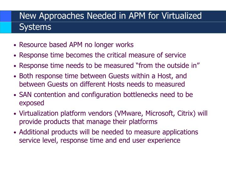 New Approaches Needed in APM for Virtualized Systems
