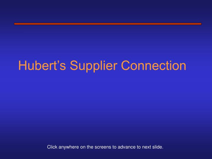hubert s supplier connection