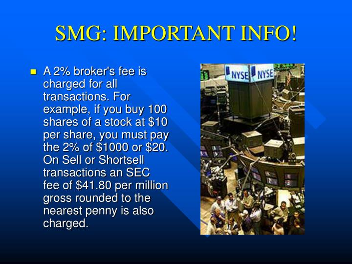 SMG: IMPORTANT INFO!