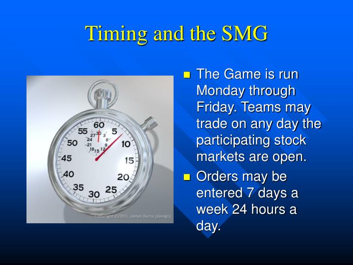 Timing and the SMG