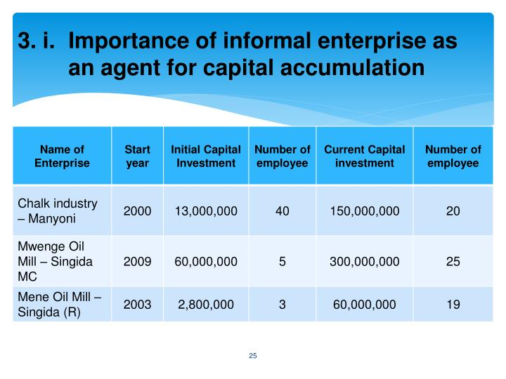 3. i. Importance of informal enterprise as an agent for capital accumulation