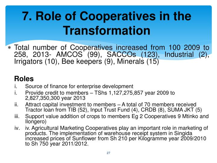 7. Role of Cooperatives in the Transformation