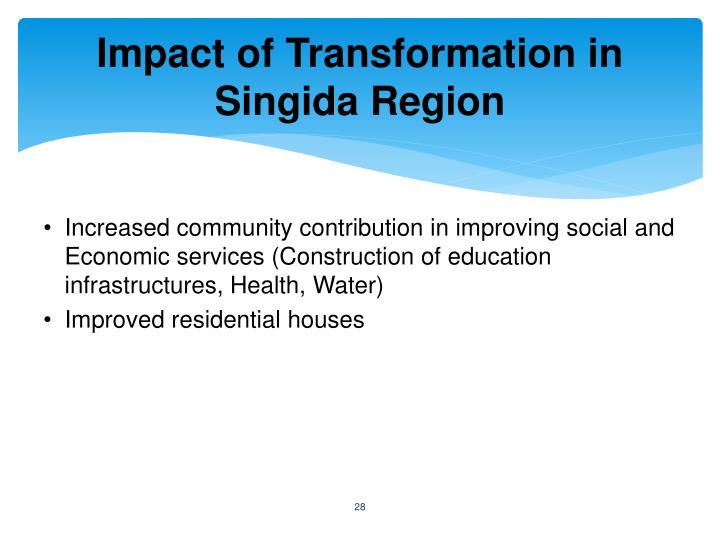 Impact of Transformation in Singida Region
