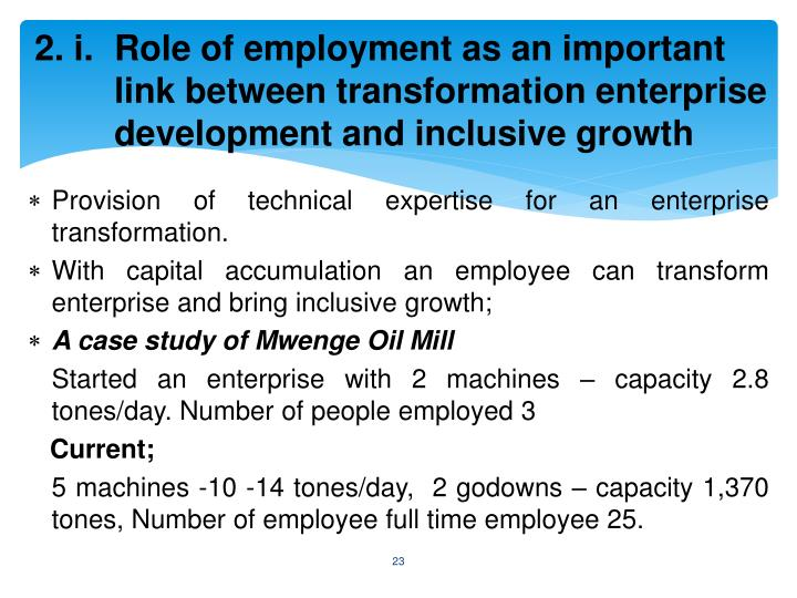 2. i. Role of employment as an important link between transformation