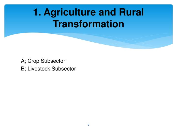 1. Agriculture and Rural Transformation