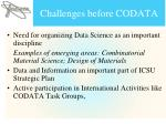 challenges before codata