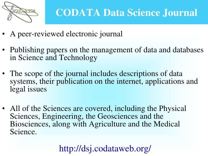 CODATA Data Science Journal