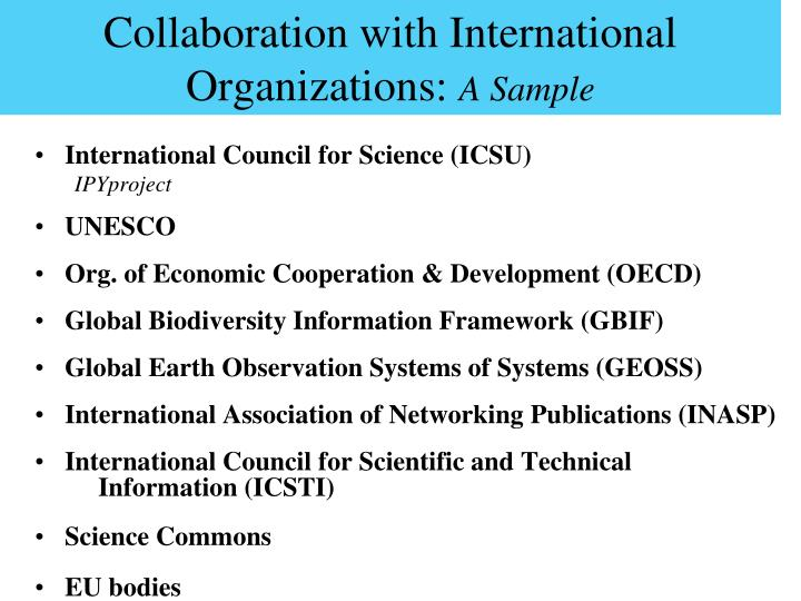 Collaboration with International Organizations:
