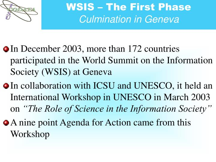 WSIS – The First Phase