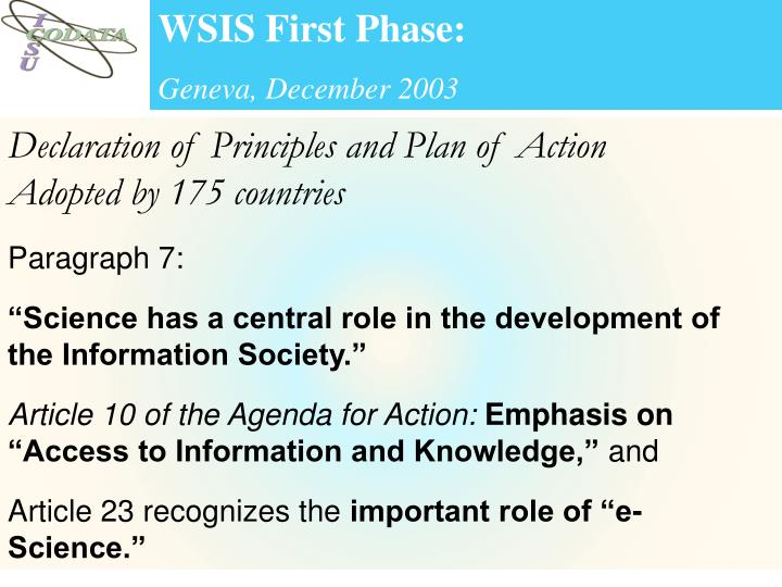 WSIS First Phase: