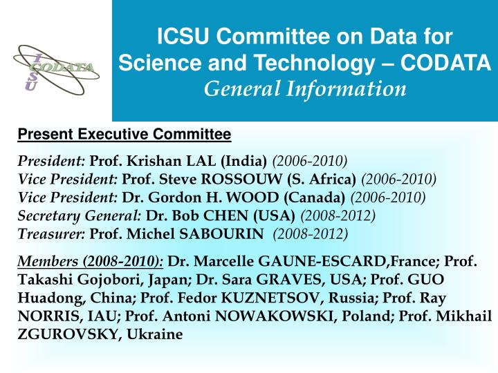 ICSU Committee on Data for Science and Technology – CODATA