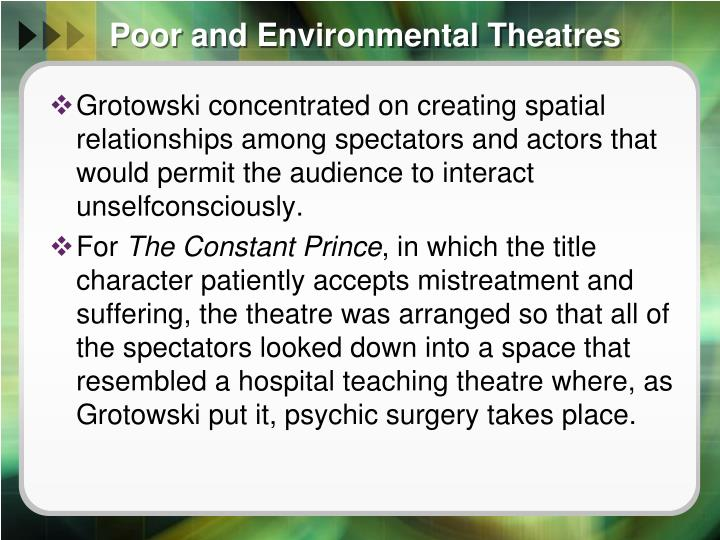 Poor and Environmental Theatres