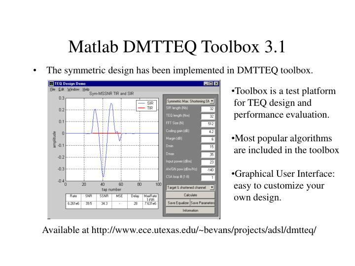 Matlab DMTTEQ Toolbox 3.1