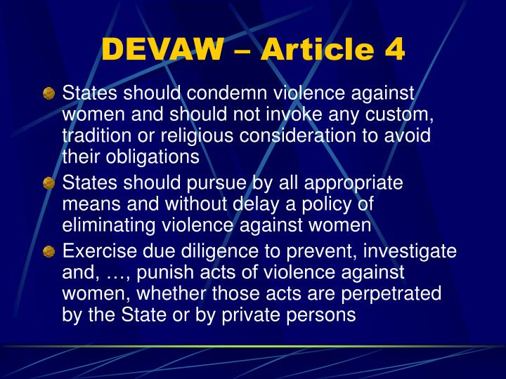 DEVAW – Article 4