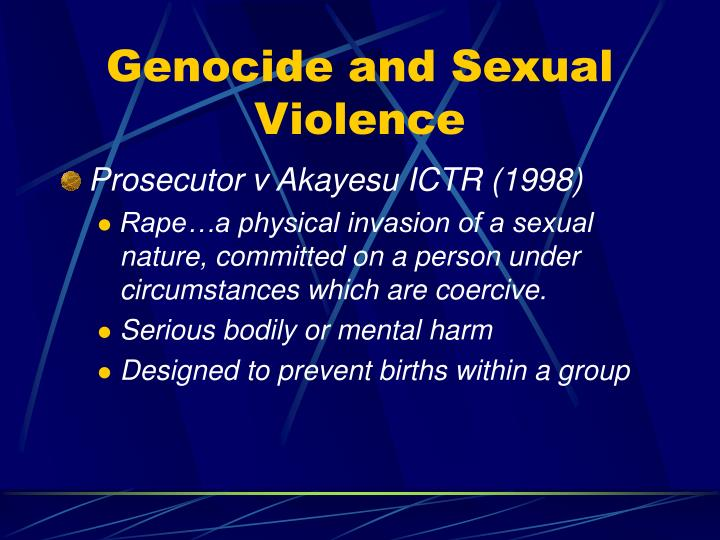 Genocide and Sexual Violence