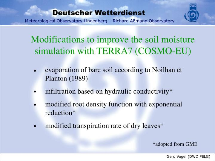 Modifications to improve the soil moisture simulation with TERRA7 (COSMO-EU)