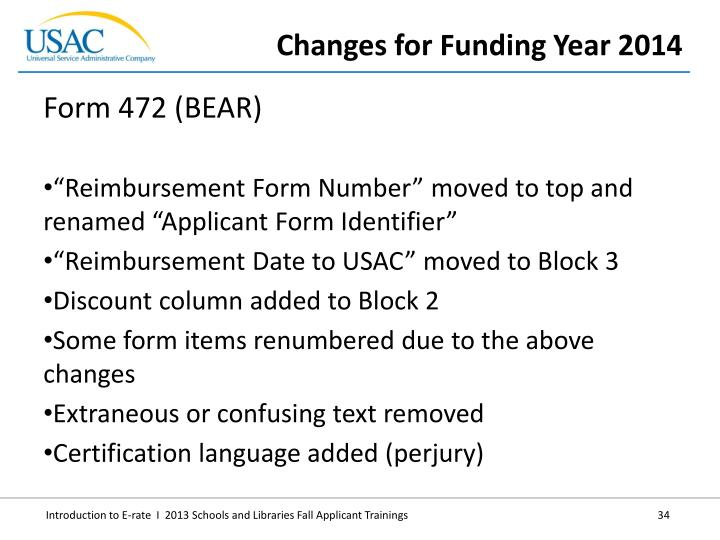 Changes for Funding Year 2014