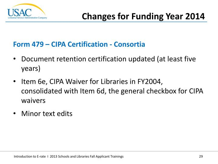 Document retention certification updated (at least five years)