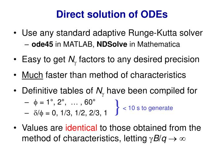 Direct solution of ODEs