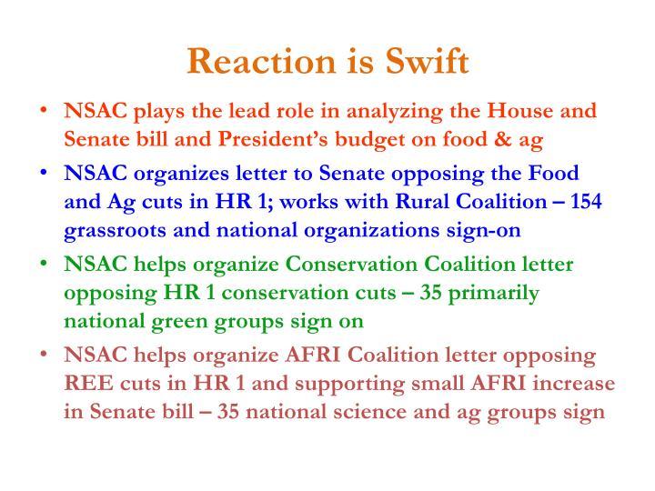 Reaction is Swift