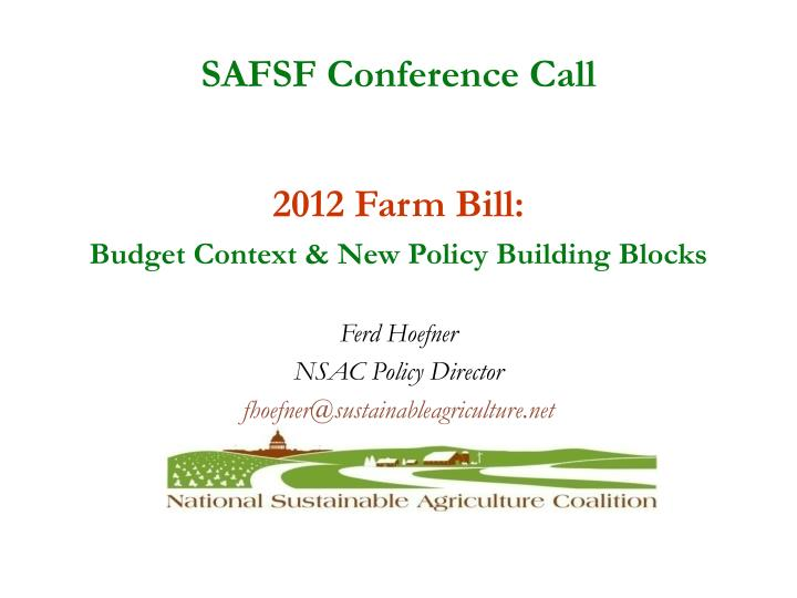 SAFSF Conference Call
