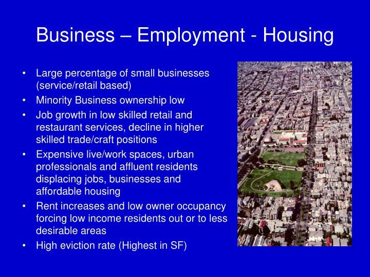 Business – Employment - Housing