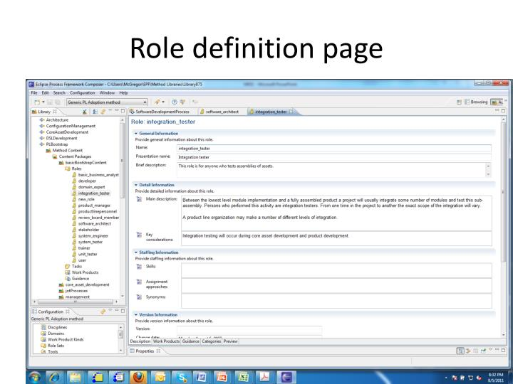 Role definition page