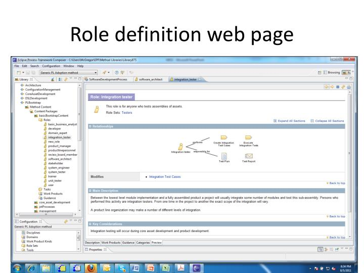 Role definition web page