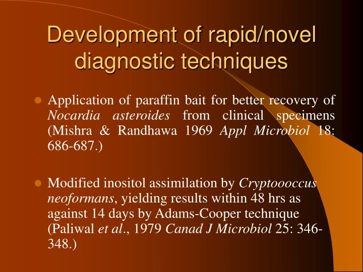 Development of rapid/novel diagnostic techniques