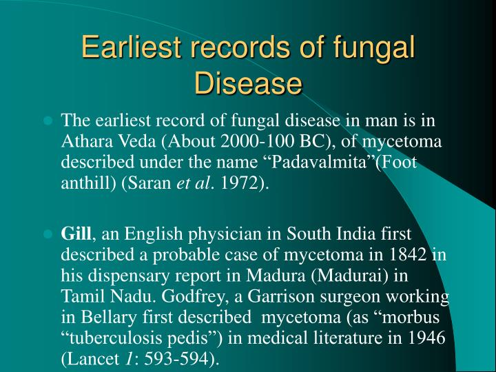 Earliest records of fungal Disease