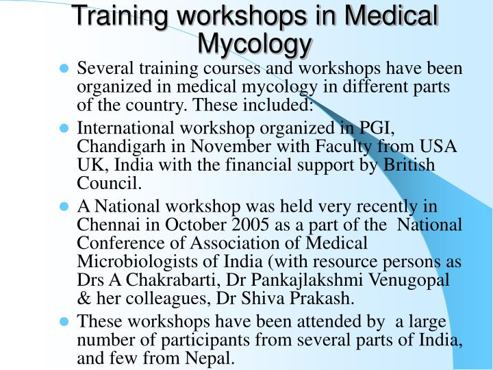 Training workshops in Medical Mycology