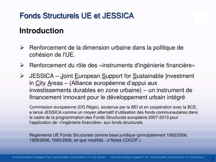 Fonds Structurels UE et JESSICA