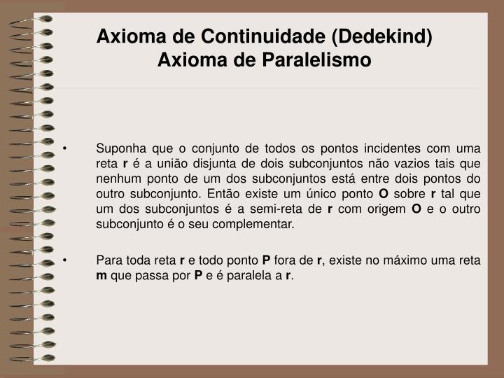 Axioma de Continuidade (Dedekind)