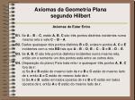 axiomas da geometria plana segundo hilbert1