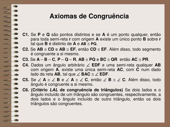 Axiomas de Congruência
