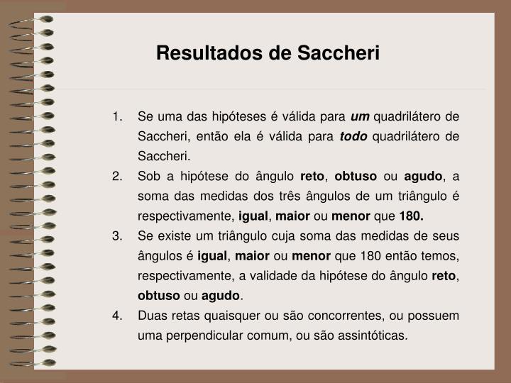 Resultados de Saccheri