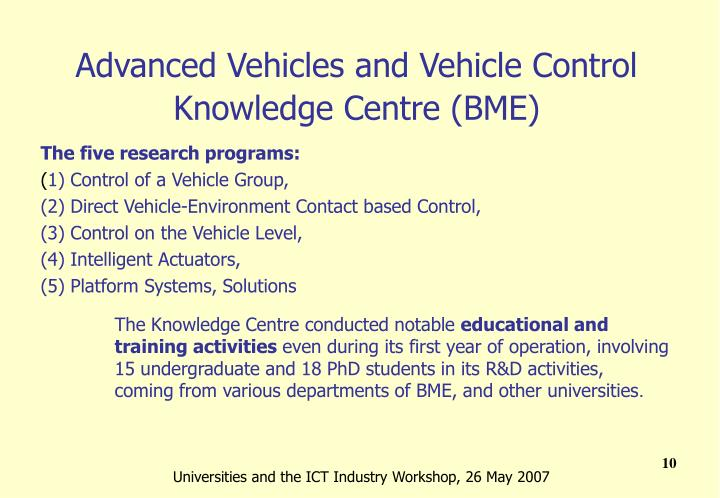 Advanced Vehicles and Vehicle Control Knowledge Centre