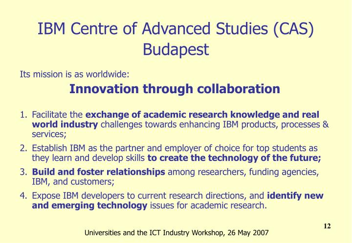 IBM Centre of Advanced Studies (CAS) Budapest