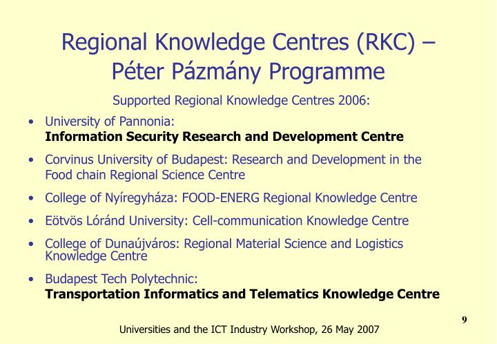 Regional Knowledge Centres (RKC) –