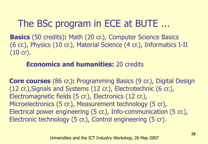 The BSc program in ECE at BUTE ...