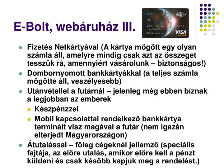 E-Bolt, webáruház III.