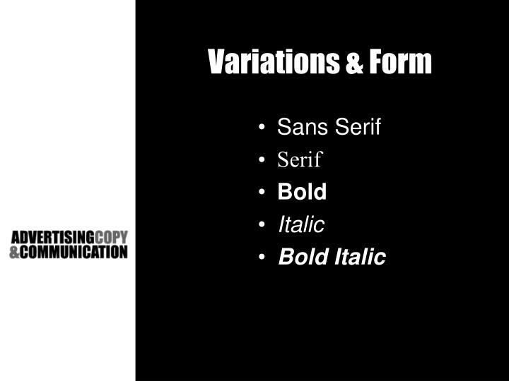 Variations & Form