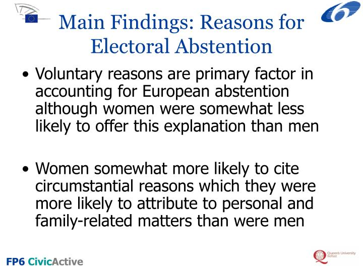 Main Findings: Reasons for Electoral Abstention