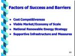 factor s of success and barriers