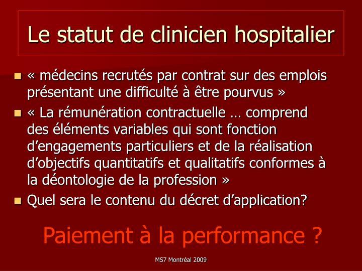Le statut de clinicien hospitalier