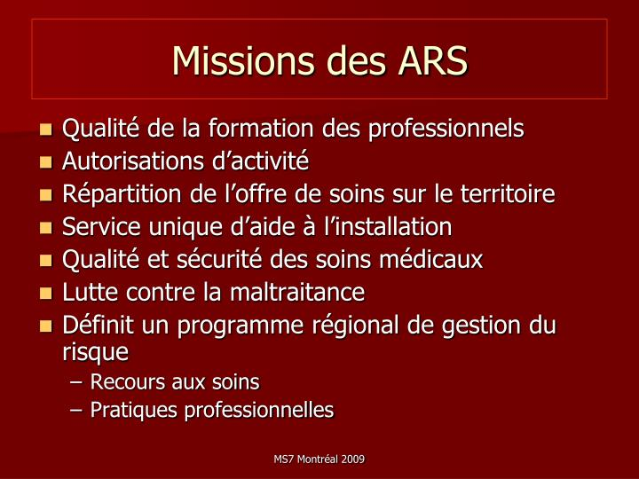 Missions des ARS