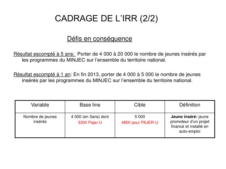 CADRAGE DE L'IRR (2/2)