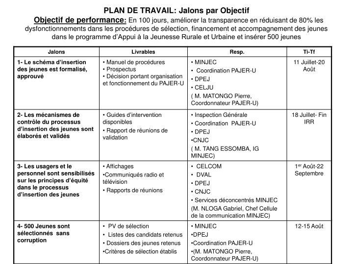PLAN DE TRAVAIL: Jalons par Objectif