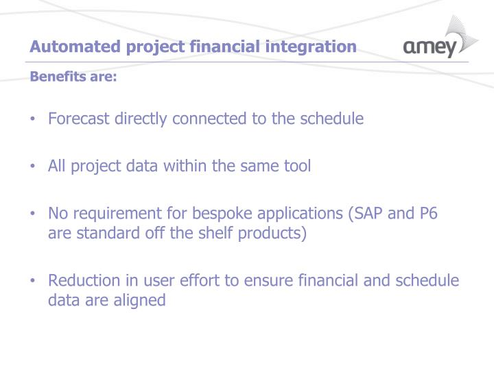 Automated project financial