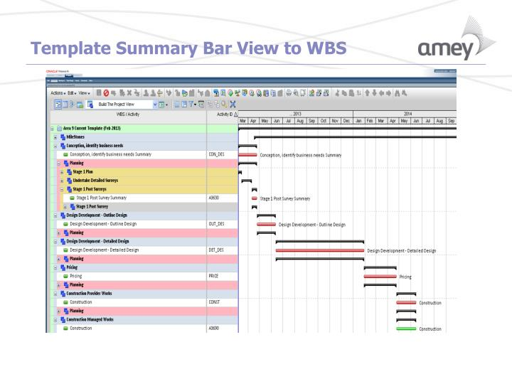 Template Summary Bar View to WBS
